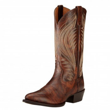 ARIAT MEN'S BOOMTOWN RTOE WESTERN BOOT 9.5EE BROWN