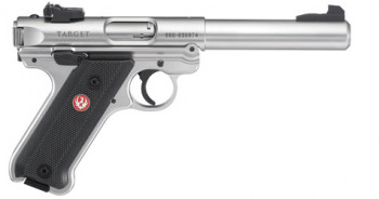 "RUGER MK IV TARGET, .22 LR., 51/2"" BULL BBL., STAINLESS, 10 ROUNDS"