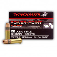 WINCHESTER AMMO., 22 LR., 42 GR., POWER POINT, 50 ROUNDS