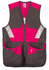 BROWNING WOMEN'S SUMMIT SHOOTING VEST, SMOKE/FUCHSIA, 2XLARGE