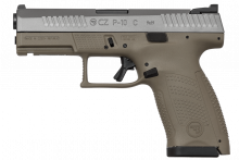 "CZ P-10 COMPACT HANDGUN, 9 MM, 4.02"" BBL., MATTE/ FLAT DARK EARTH, N.S. 15 ROUNDS"