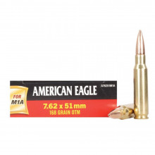 FEDERAL AMERICAN EAGLE RIFLE AMMO, 7.62X51 MM., 168 GR OTM, FOR THE M1A, 20 ROUNDS