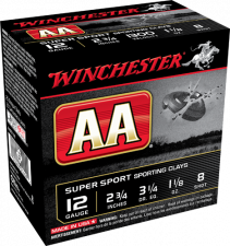 WINCHESTER TARGET LOADS, AA SUPER SPORT SPORTING CLAYS, 12 GA., 1-1/8 OZ., #8, 1300 FPS