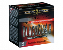 "FEDERAL BLACK CLOUD, FS STEEL, 12 GA., 3"", 11/4 OZ., #BB, 25 ROUNDS"