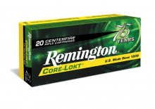 REMINGTON RIFLE AMMO, 243 WIN, 100 GR. CORELOKT POINTED SOFT POINT, 20 ROUNDS