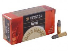 FEDERAL PREMIUM AMMO. 22 LR, 40 GR., GOLD MEDAL, LEAD ROUND NOSE, 50 ROUNDS
