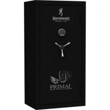 BROWNING PRIMAL SAFE, PRM49, 49 GUN TEXTURED BLACK & CHROME HANDLE, SCROLL DECAL E-LOCK 675 LBS, 58H x 41W x 24D  1400 DEGREES