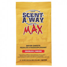 HUNTERS SPECIALTIES SCENT-A-WAY MAX ODORLESS DRYER SHEETS