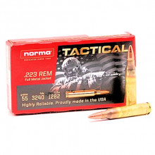 NORMA AMMUNITION, 223 TACTICAL, 223 REM 55GR. FMJ 3240 FPS 20 RNDS/BOX