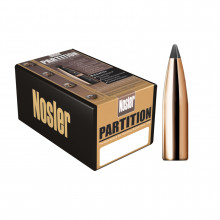 NOSLER BULLETS PARTITION, 6MM/.243, 85 GR. SPITZER, 50COUNT