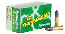 REMINGTON RIMFIRE AMMO, 22 LR., 40 GR., THUNDERBOLT, LEAD ROUND NOSE (LRN), 50 ROUNDS