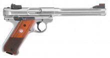 "RUGER MK IV HUNTER, .22 LR., 51/2"" STAINLESS, WOOD GRIPS, 10 ROUNDS"