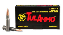 TULAMMO RIFLE AMMO, 7.62 X 54R, 148 GR FMJ, 20 ROUNDS