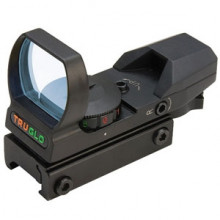 TRUGLO RED DOT OPEN SCOPE, 4 RETICLES/ 2 COLORS, MATTE BLACK